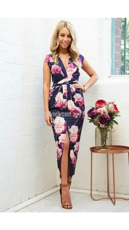 Addison Maxi Dress in Navy with Pink Floral