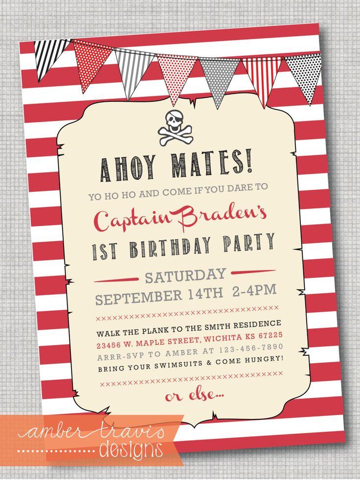 Yo ho yo ho pirate birthday invite