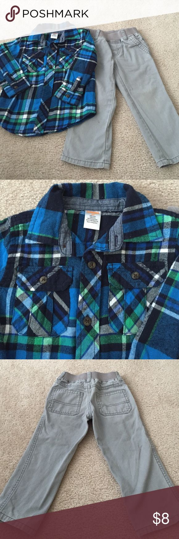 Gymboree pants and flannel shirt outfit Gymboree gray pants and blue plaid shirt outfit Gymboree Matching Sets