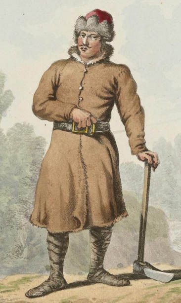 """Chłop żmudzki. Wersja kolorowana (z 1817 r., z dzieła """"Costumes polonais"""") rysunków autorstwa Jean-Pierre Norblin de La Gourdaine, czyli Jana Piotra Norblina."""
