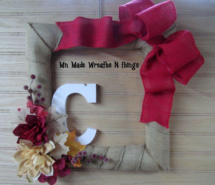 Fall Wreath, Burlap Wreath, Square Wreath, Monogram Wreath, Initial Wreath, Autumn Wreath, Entry Wreath, Porch Wreath, Fall Decor by MnMadeWreathsNThings on Etsy