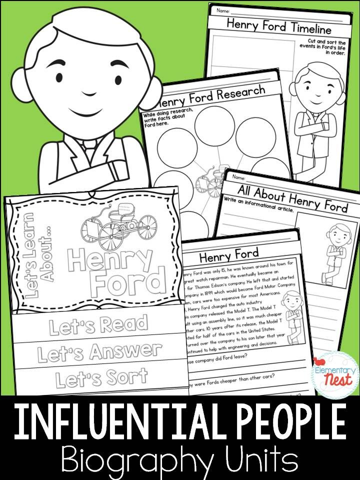 Influential People Biography- Henry Ford sample- importance of learning influential people in history throughout the world- focuses on reading, writing, research, and hands-on activities