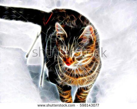 3d illustration. Image of a Bengal cat in neon light