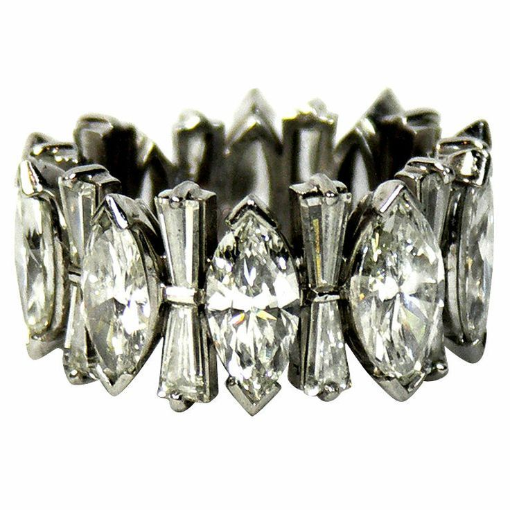 Platinum Marquise and Baguette Diamond Eternity Band