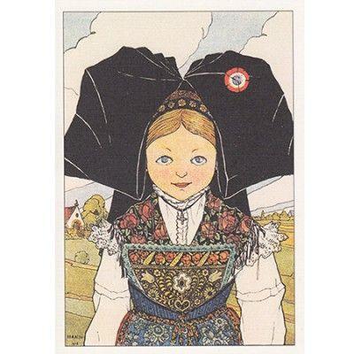 Carte Postale représentant la Belle petite Alsacienne en Costume vu par Hansi.