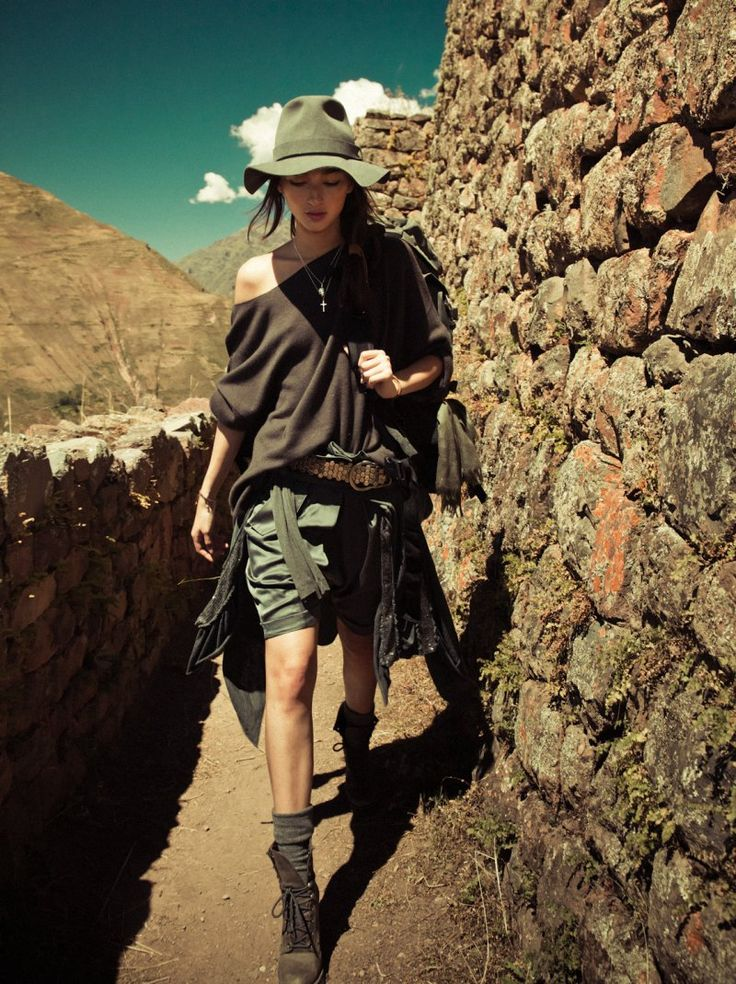 Fashion editorial: Bruna Tenorio by Jacques Dequeker for Vogue Brazil June 2010 - think desert fashion, mountain treks in brown and sandy colours...