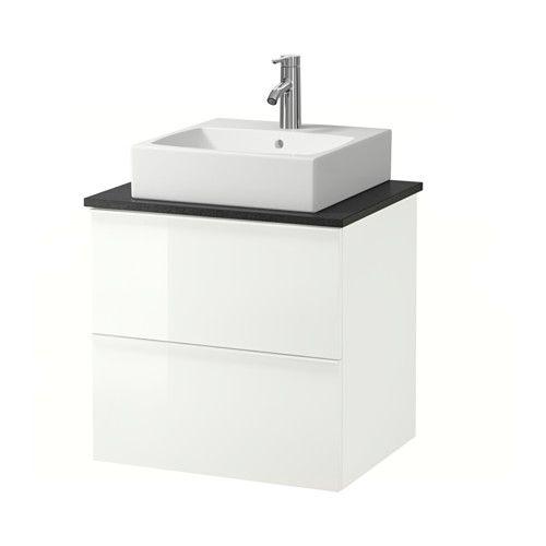 IKEA - GODMORGON/ALDERN / TÖRNVIKEN, Wastafelcombi 45x45 v bovenblad, zwart steenpatroon, hoogglans wit, , Gratis 10 jaar garantie. Raadpleeg onze folder voor de garantievoorwaarden.Werkbladen van laminaat zijn zeer slijtvast en onderhoudsvriendelijk. Als je er wat zorg aan besteedt, blijven ze er jarenlang als nieuw uitzien.Je kan de wastafel plaatsen waar je wilt: in het midden, rechts of links.Soepel lopende en zachtsluitende lades met blokkeerstuk.Je kan de grootte van het vak in de lade…