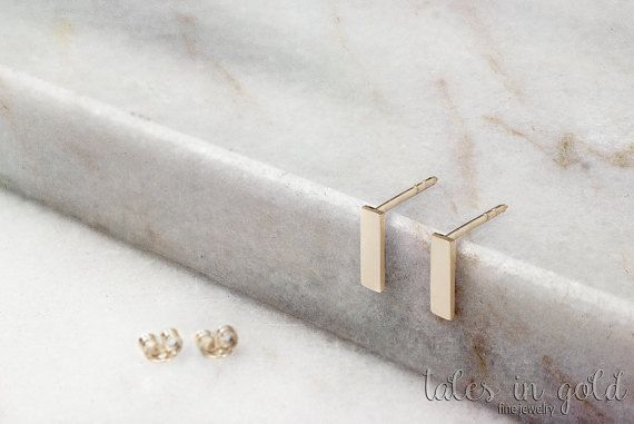Solid Gold Earrings Bar Earrings 14 karat gold by TalesInGold
