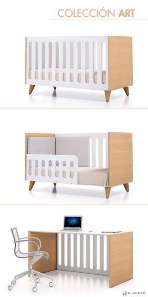 Cunas convertibles de diseño ART. Cunas infantiles de 70x140 que se convierten en camita junior y escritorio para niños. Una solución de largo recorrido. Ven y descúbrela