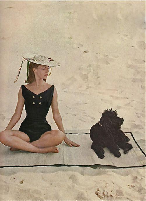 Dreamtime beachwear!  ... including the puppy.. Harper's Junior Bazaar, 1956