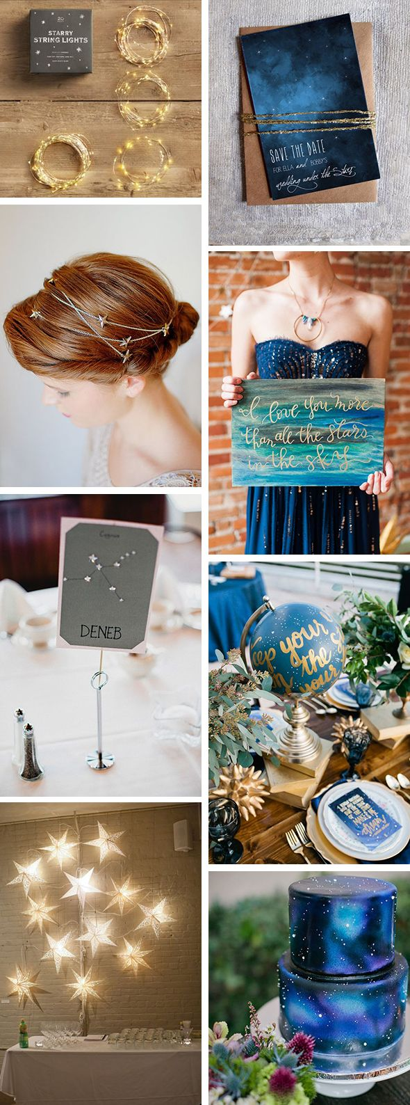 If you're getting married under the stars, you might want to consider bringing the sparkle down from the sky to the tables, invitations, even the wedding cake! Take a look at a few fun ideas to weave those stars in your eyes into your event design