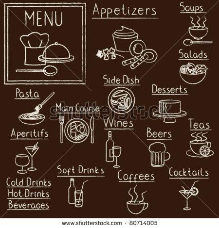 stock vector : Hand drawn restaurant menu design elements on blackboard