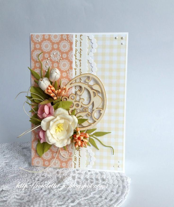 Kartek wielkanocnych cd., Easter card with egg and flowers