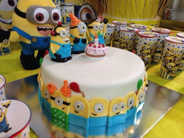 Minion cake at a Despicable Me birthday party! See more party ideas at CatchMyParty.com!