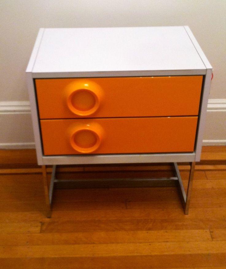 2 VTG 60s BROYHILL RAYMOND LOEWY Orange Pop Art Mod Night Stands Kartell  Panton