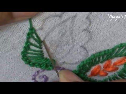 Beautiful Hand Embroidery Work Designs # 90 - Leaf Stitch - YouTube