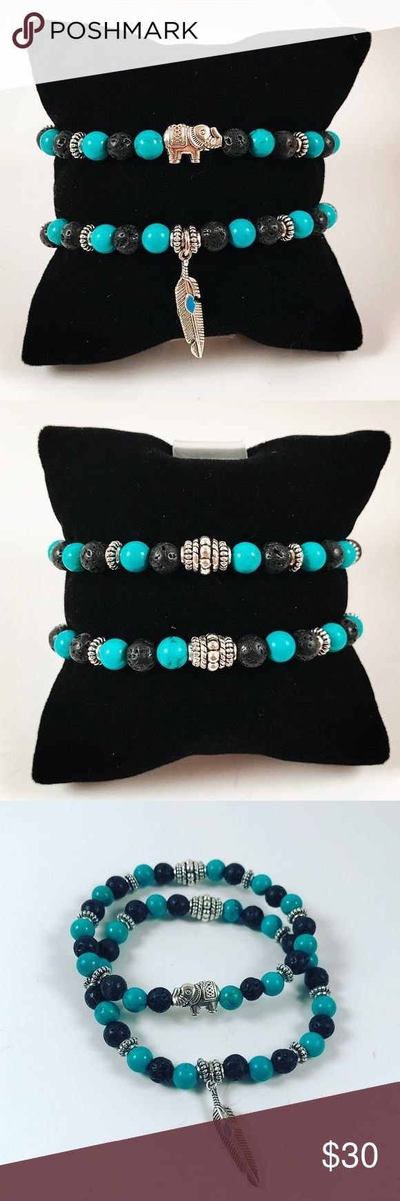 Women lava rock / turquoise / elephant bracelets Women beaded bracelets set . Both bracelets Fits most 5.5 to 7 inch wrist. Handmade by me , never worn by anyone. Made with black lava rocks / volcano beads. Turquoise beads . Tibetan silver Feather / leaf charm . Tibetan silver elephant charm. I ship fast!!✈️ Bundle and save! ( 10 % off bundles) REASONABLE offers considered. Any questions let me know! NO PAYPAL ! Jewelry Bracelets