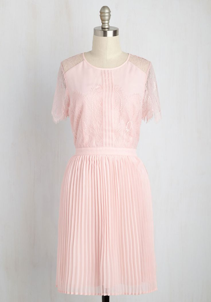 Fancy Forecast Lace Dress. Weather you sport this pink dress at an elegant brunch or at your besties special day, its details guarantee showers of compliments! #pink #wedding #bridesmaid #prom #modcloth