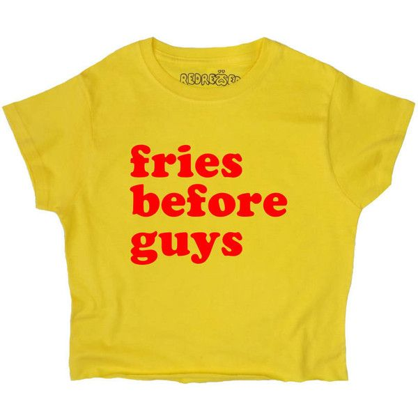 Fries Before Guys Crop Top Yellow Slogan S M L Xl Tumblr Instagram... (£12) ❤ liked on Polyvore featuring tops, crop tops, shirts, t-shirts, yellow, women's clothing, yellow crop top, slogan shirts, yellow shirt and crop top