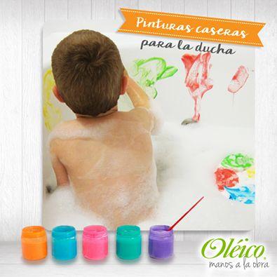 """""""PINTURA CASERA PARA LA DUCHA""""   Necesitarás:  1 cucharada de harina/fécula de maíz.  4-6 chorritos de shampoo para niños.  2-3 gotas de colorante para alimentos. (Colores de tu preferencia).  1-2 cucharadas de agua.  ➜ Mezcla cada color en recipientes de plástico pequeños.  #Niños #Manualidad"""