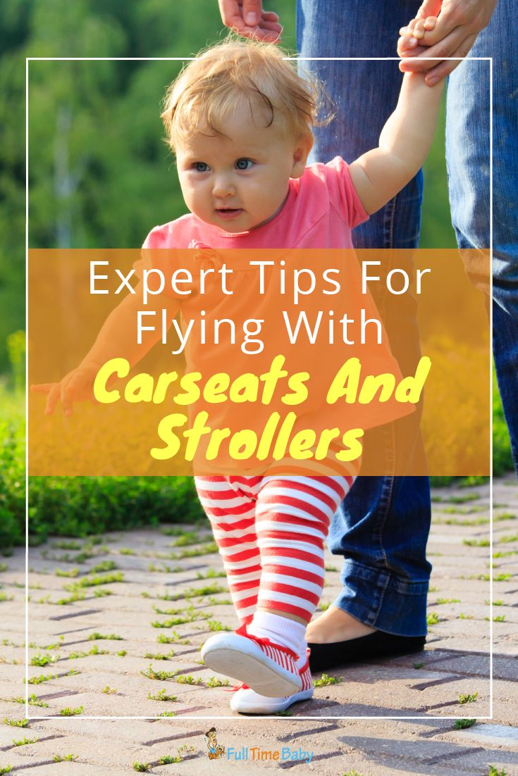 Find out everything you need to know about traveling with carseats or strollers on a plane. #familytravel #flying #travel