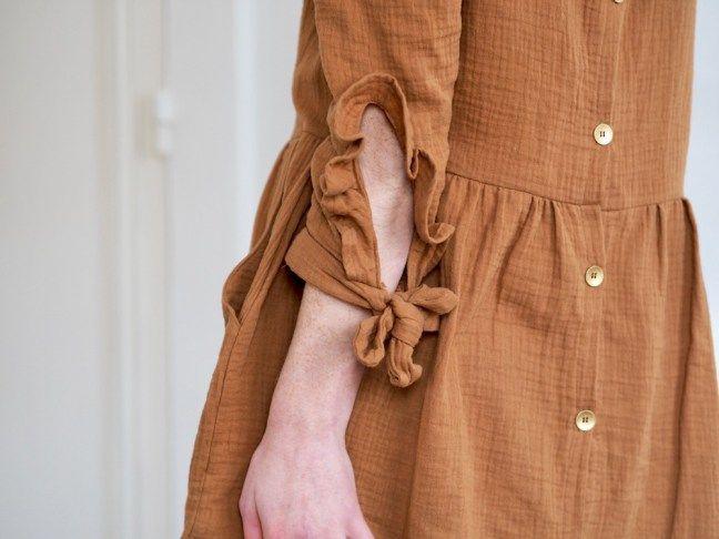 Ma robe Twiggy en double gaze caramel #couture #robe #twiggy #kitbyklo #franceduvalstalla