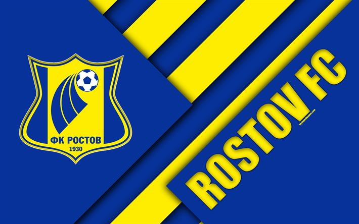 Download wallpapers FC Rostov, 4k, material design, blue yellow abstraction, logo, Russian football club, Rostov-on-Don, Russia, football, Russian Premier League