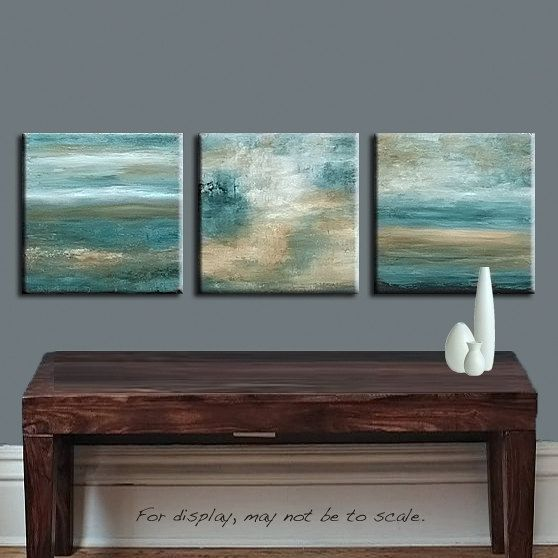 Abstract Painting Turquoise Green and Brown Abstract Landscape - 36x12 - Abstract Art by Marie. $215.00, via Etsy.