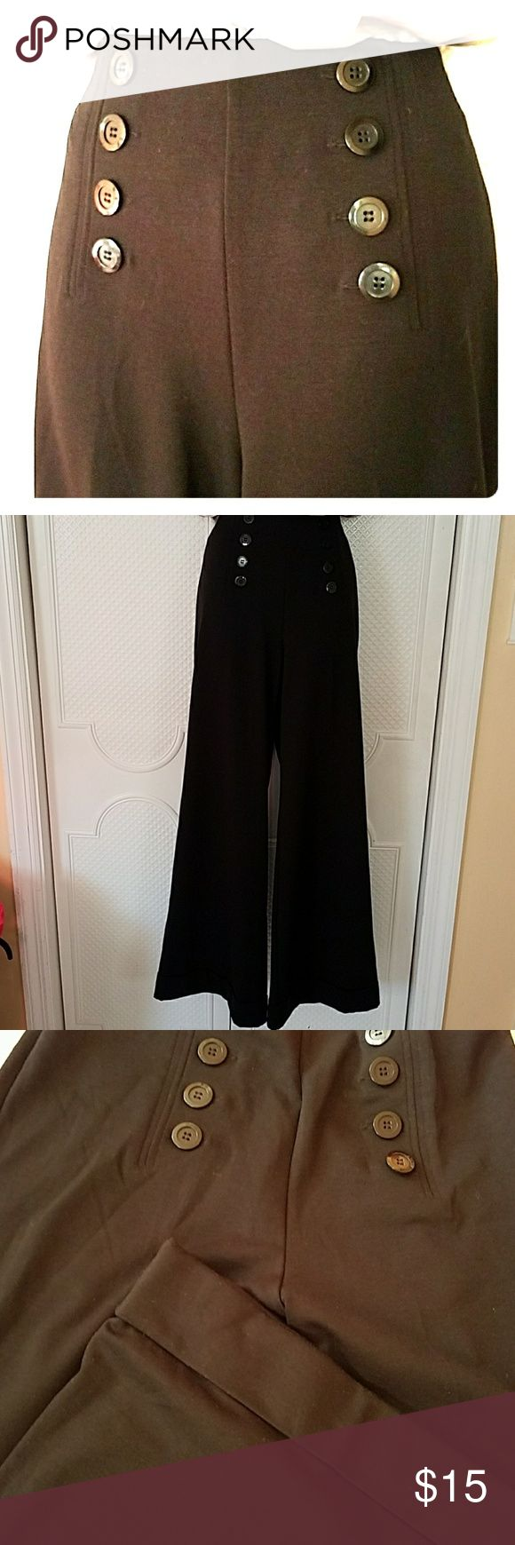 Black Nautical pants Wide leg. Side zipper with cuffs. Mock pockets on back. New York & Company Pants Boot Cut & Flare
