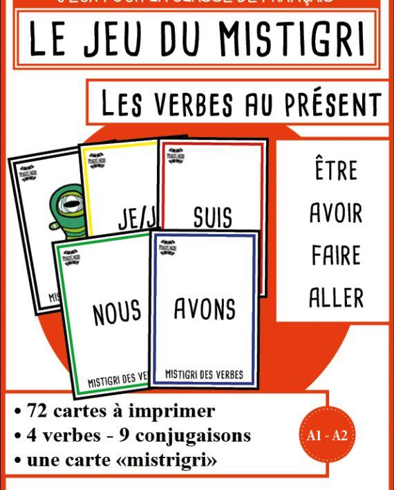 cac8697890ce Jeu de cartes pour la classe de français   FLE   mistigri des verbes. Jeu  de grammaire et de conjugaisons. Ressource imprimable.