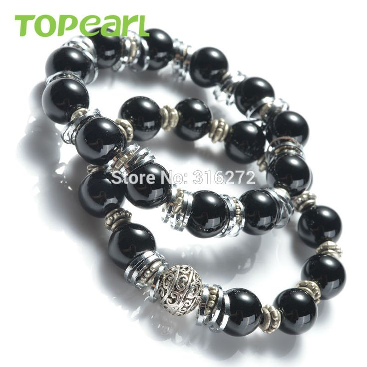 Topearl Jewelry 3pcs Bracelet Black Agate Stretch Bracelets Handmade for Women SBR129