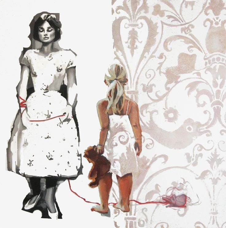 malarstwo olejne Urbaniak Katarzyna dzieci dziewczynki małe little child girl sad dreams