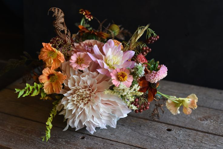 February Wedding, table flowers, centrepiece, Dahlias, Cafe au Lait, Nasturtium, Zinnias, Hawthorn Berries, dried Bracken Fern, Salmon, cream, pink, peach, lime green