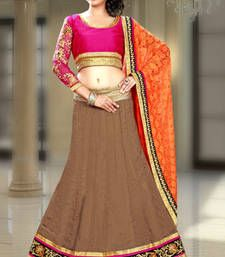 Buy Brown embroidered silk lehenga choli lehenga-choli online