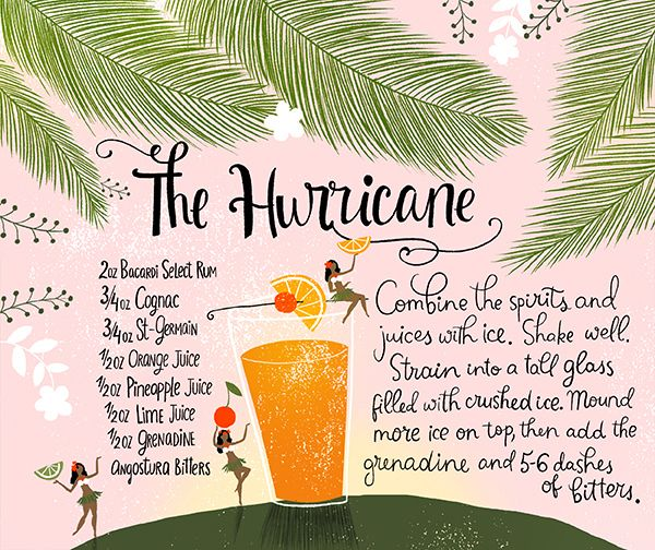 Modern Tiki Party #Cocktail Recipes with St-Germain - the Mai Tai, the Hurricane, and Rum Punch  - by Oh So Beautiful Paper: http://ohsobeautifulpaper.com/2014/07/modern-tiki-party-cocktail-recipes/ | Illustration:  Dinara Mirtalipova for Oh So Beautiful Paper | Photo: Nole Garey for Oh So Beautiful Paper #osbptikiparty #stgermaindrinks
