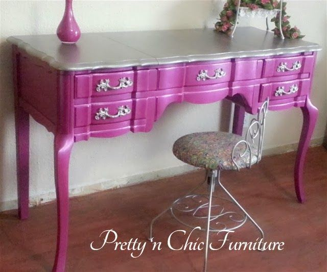 French Provincial Vanity Makeover in Shabby Paints Shimmer Passion Pink & Stunning SIlver By Pretty 'N Chic Furniture - Featured On Furnitur...
