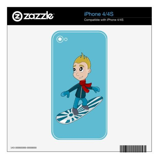 Snowboarding boy cartoon iPhone skin Skins For iPhone 4S