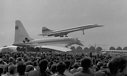 Tupolev TU-144 and Concorde appear together at the Paris Air Show 1973. The TU-144 broke apart in the air as it attempted to pull out of a steep dive and crashed sadly killing all crew.