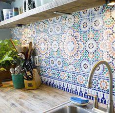 Elegant Butcher Block, Shelves, W/ Spanish Tile