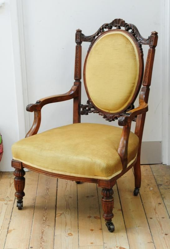 Late Victorian mahogany open elbow chair with turned front legs, brass  casters and yellow upholstery. - 44 Best Firedrake Jewellery & Antiques Images On Pinterest