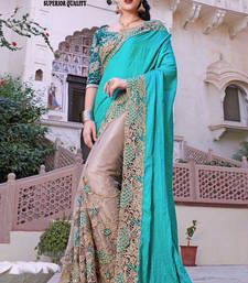 Buy turquoise embroidered georgette saree with blouse bridal-saree online