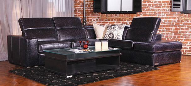 Sectional James - Contemporary Style - Linea 30 Collection ------------------------------ Modulaire inclinable, appui-tête ajustable, cuir noir, plusieurs configuration disponible. Causeuse, fauteuil, salon, appartement, maison, décor, sofa, sectionnel. Fait au Canada. ---------------------------------------- Sectional, recliner, adjustable headrest, black leather, choose your configuration. Loveseat, accent chair, livingroom, apartment, house, decor, sofa, modular. Made in Canada.