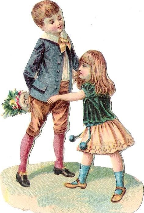 Oblaten Glanzbild scrap die cut chromo Kind child Paar couple Geschwister