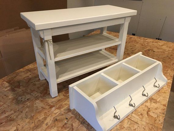Hallway Mud Room Foyer Bench 30 Inch with Two Shoe Shelves and