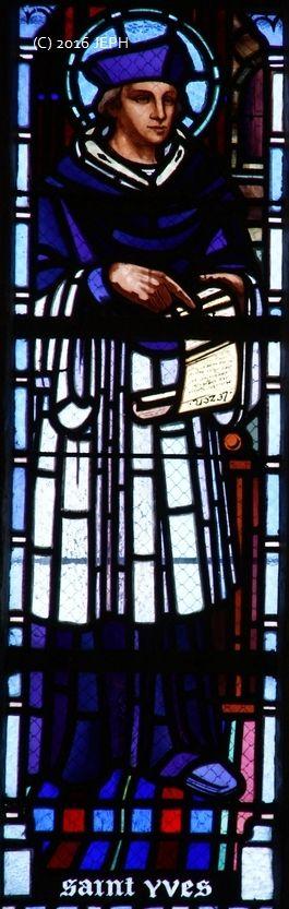 St Yves, église de Kerbors (22). Vitrail de Job Guével