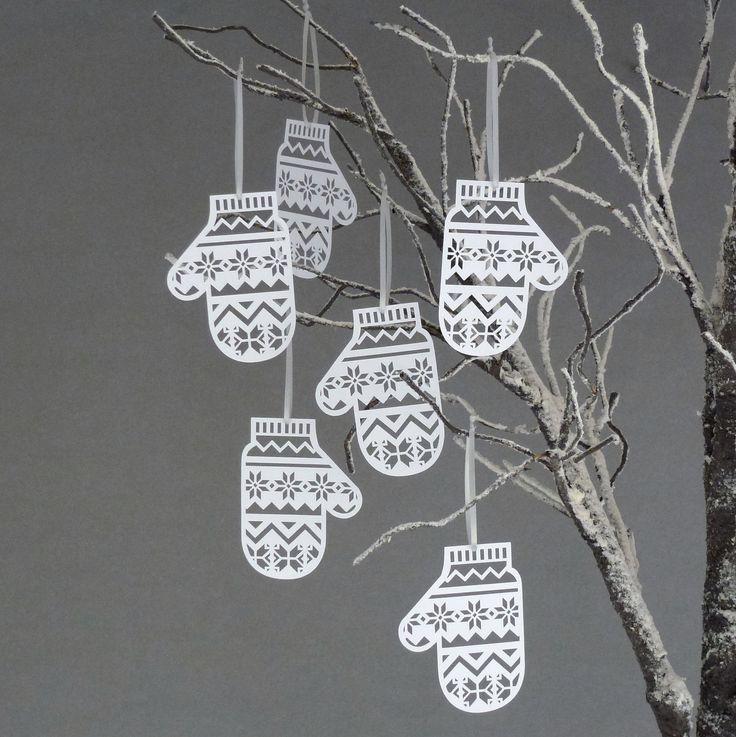 Papercut mitten ornaments - love these! Sarah Louise Matthews @Etsy