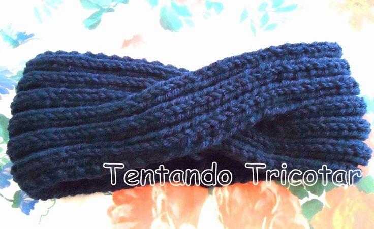Tentando Tricotar: Turbante azul marinho em tricot