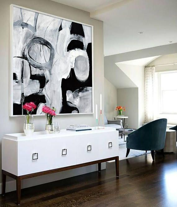 Original Extra Large Abstract Painting On Canvas Large Black Black