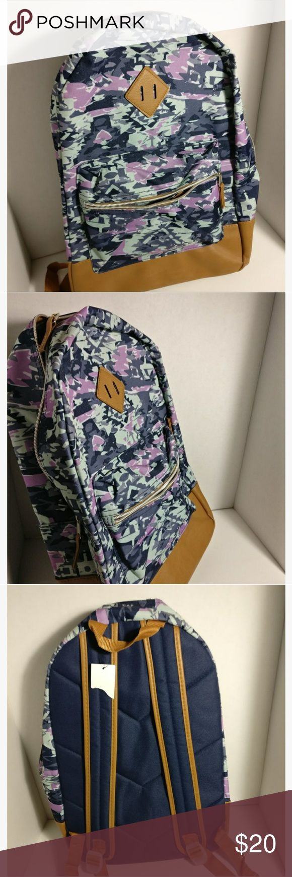 Herschel Style Camo Backpack *Camo print in Gray, Purple and Blue Mixed in * Leather bottom Accessories Bags