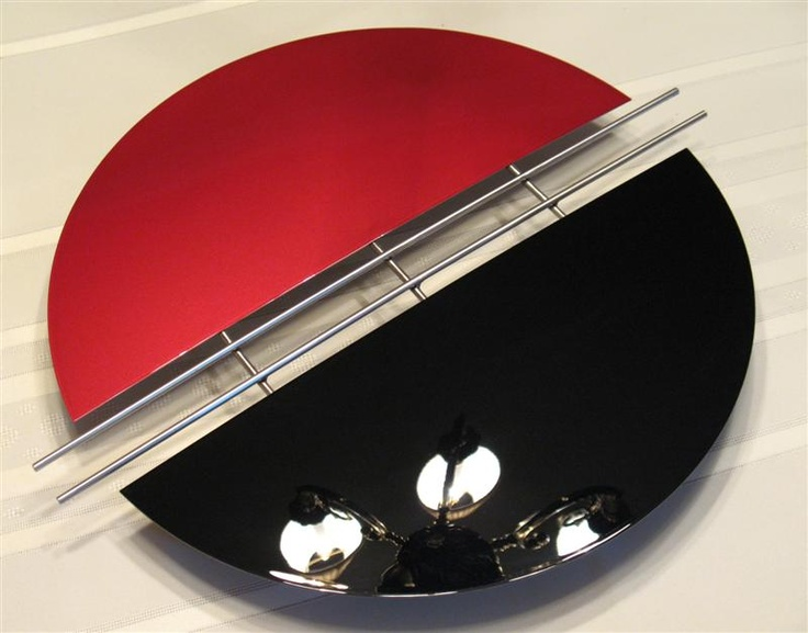 Contemporary Metal Wall Art   Metallic Red, Gloss Black, Stainless Steel